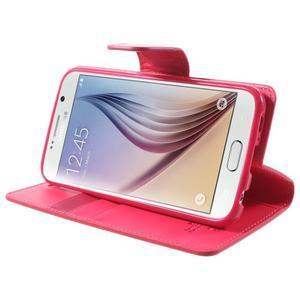 Diary PU kožené pouzdro na mobil Samsung Galaxy S6 -rose - 4