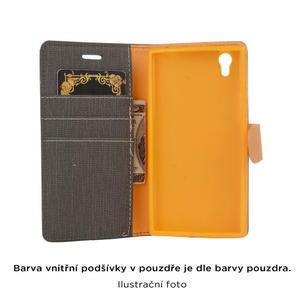 Cloth textilní/koženkové pouzdro na mobil Lenovo P70 - tmavěmodré - 4