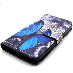 Peneženkové pouzdro na mobil LG G4c - modrý motýl - 4