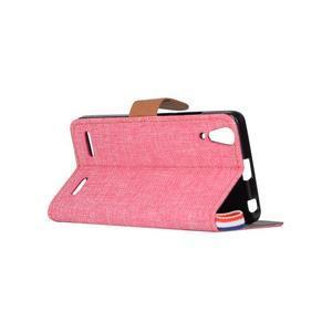 Jeans PU kožené/textilní pouzdro na mobil Lenovo A6000 - růžové - 4