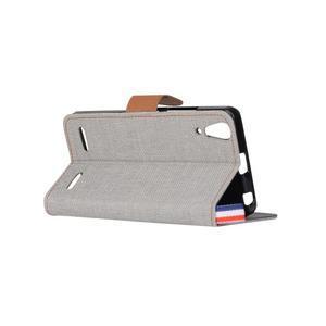 Jeans PU kožené/textilní pouzdro na mobil Lenovo A6000 - šedé - 4