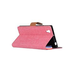 Jeans PU kožené/textilní pouzdro na mobil Lenovo P70 - růžové - 4