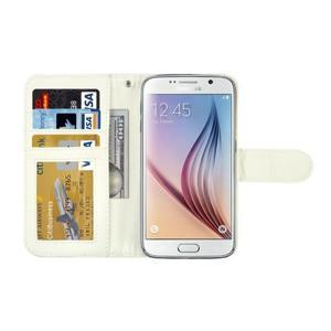 Croco motiv koženkového pouzdra na Samsung Galaxy S6 - bílé - 4