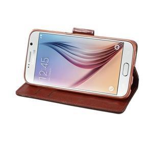 Business látkové/PU kožené pouzdro na Samsung Galaxy S6 - hnědé - 4