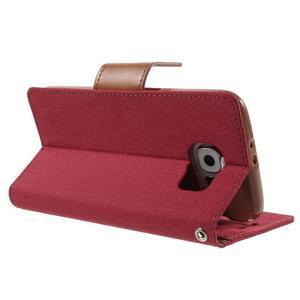 Luxury textilní/koženkové pouzdro na Samsung Galaxy S6 - červené - 4