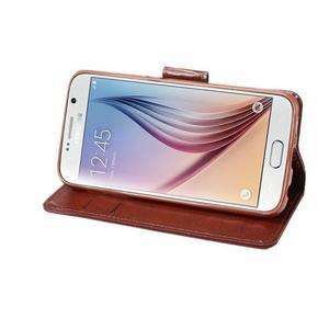 Business látkové/PU kožené pouzdro na Samsung Galaxy S6 - červenohnědé - 4