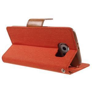 Luxury textilní/koženkové pouzdro na Samsung Galaxy S6 - oranžové - 4