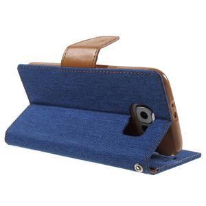Luxury textilní/koženkové pouzdro na Samsung Galaxy S6 - modré - 4