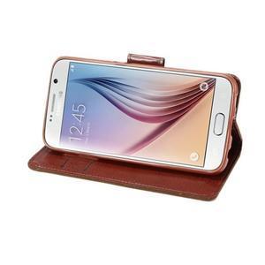 Business látkové/PU kožené puzdro pre Samsung Galaxy S6 - svetlo hnedé - 4