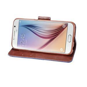 Cloth peněženkové pouzdro pro Samsung Galaxy S6 - tmavěmodré - 4