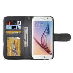 Croco motiv koženkového pouzdra na Samsung Galaxy S6 - černé - 4