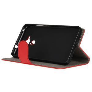 Peněženkové PU kožené pouzdro na mobil Honor 7 Lite - červené - 4