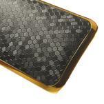 Plastový kryt se zlatým lemem na HTC One mini 2 - černý - 4/5