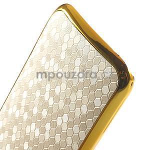 Plastový kryt se zlatým lemem na HTC One mini 2 - bílý - 4