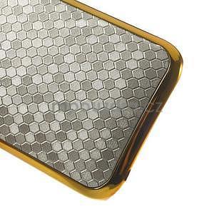 Plastový kryt se zlatým lemem na HTC One mini 2 - stříbrný - 4