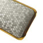 Plastový kryt se zlatým lemem na HTC One mini 2 - stříbrný - 4/5