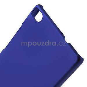 Plastový pogumovaný obal na Huawei Ascend P8 - tmavě modrý - 4