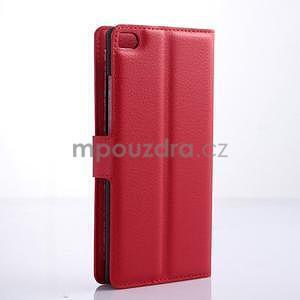 PU kožené peněženkové pouzdro na Huawei Ascend P8 - červený - 4