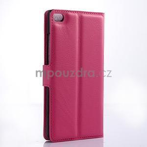 PU kožené peněženkové pouzdro na Huawei Ascend P8 - rose - 4