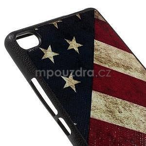 Gelový kryt s koženkovými zády na Huawei Ascend P8 - US vlajka - 4