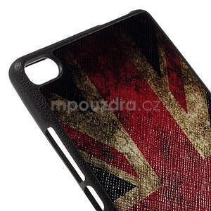 Gelový kryt s koženými zády na Huawei Ascend P8 - UK vlajka - 4