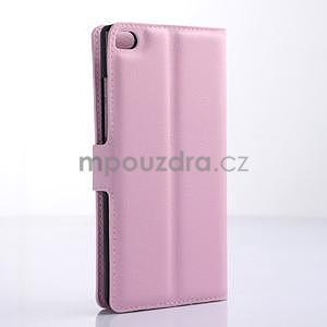 PU kožené peněženkové pouzdro na Huawei Ascend P8 - růžový - 4