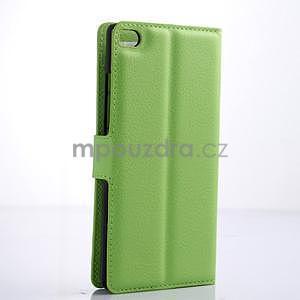PU kožené peněženkové pouzdro na Huawei Ascend P8 - zelený - 4
