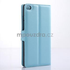 PU kožené peněženkové pouzdro na Huawei Ascend P8 - modrý - 4
