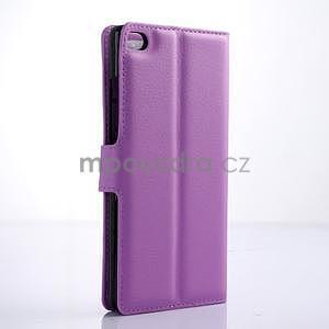 PU kožené peněženkové pouzdro na Huawei Ascend P8 - fialový - 4