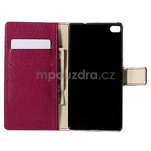 Peněženkové PU kožené pouzdro Huawei Ascend P8 - rose - 4
