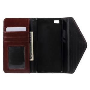 Luxusní peněženkové pouzdro na Huawei P8 Lite -  hnědé / černé - 4