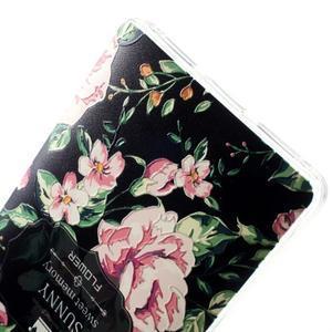 Softy gelový obal na mobil Huawei Mate S - květiny na černém pozadí - 4