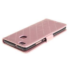 Luxury PU kožené peněženkové pouzdro na Huawei P9 Lite - růžové - 4
