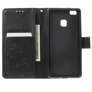 Cloverleaf peněženkové pouzdro s kamínky na Huawei P9 Lite - černé - 4