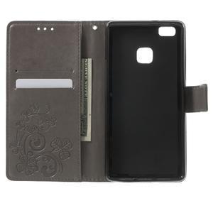 Cloverleaf peněženkové pouzdro s kamínky na Huawei P9 Lite - šedé - 4