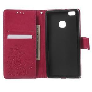 Cloverleaf peněženkové pouzdro s kamínky na Huawei P9 Lite - rose - 4