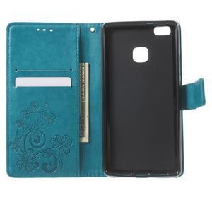 Cloverleaf peněženkové pouzdro s kamínky na Huawei P9 Lite - modré - 4