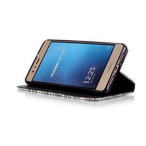 Knížkové PU kožené pouzdro na Huawei P9 Lite - lebka - 4
