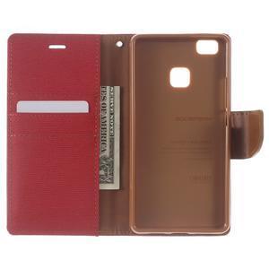 Canvas PU kožené/textilní pouzdro na Huawei P9 Lite - červené - 4