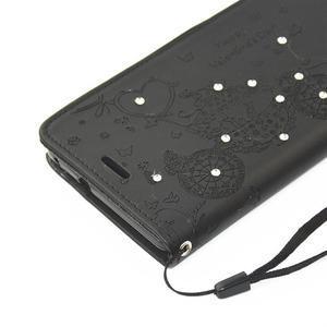 Loves PU kožené pouzdro s kamínky na Huawei P9 Lite - černé - 4