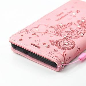 Loves PU kožené pouzdro s kamínky na Huawei P9 Lite - růžové - 4