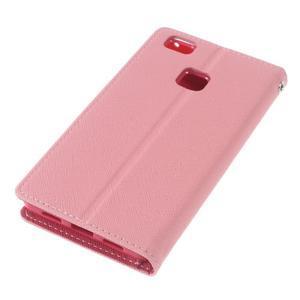 Diary PU kožené pouzdro na telefon Huawei P9 Lite - růžové - 4