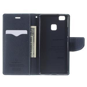 Diary PU kožené pouzdro na telefon Huawei P9 Lite - azurové - 4
