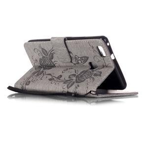 Květinoví motýlci peněženkové pouzdro na Huawei P9 Lite - šedé - 4