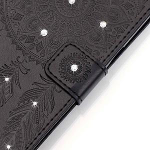 Dream PU kožené pouzdro s kamínky na Huawei P9 Lite - černé - 4