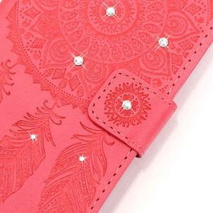 Dream PU kožené pouzdro s kamínky na Huawei P9 Lite - červené - 4