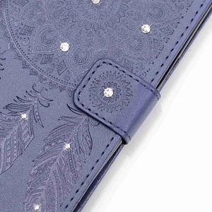 Dream PU kožené pouzdro s kamínky na Huawei P9 Lite - modré - 4