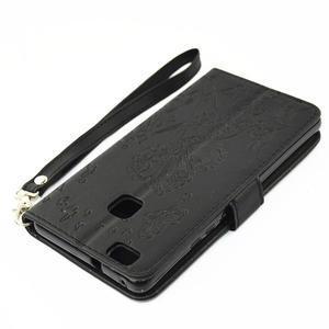 Víla PU kožené pouzdro s kamínky na Huawei P9 Lite - černé - 4