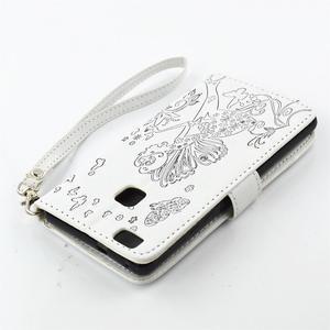 Víla PU kožené pouzdro s kamínky na Huawei P9 Lite - bílé/černé - 4