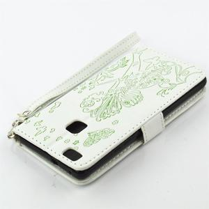 Víla PU kožené pouzdro s kamínky na Huawei P9 Lite - bílé/zelené - 4